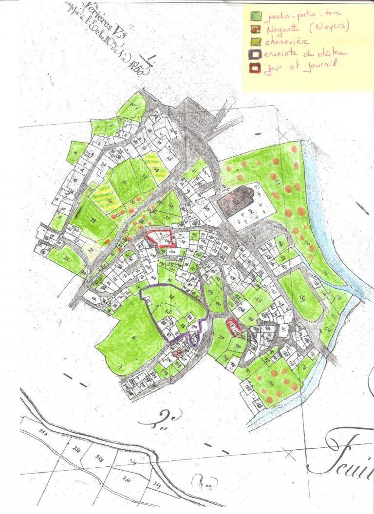 Le cadastre napoléonien 1835 – le village de Verrières